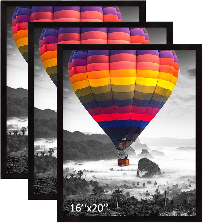 THREELOVE 16x20 Frame Black Photo Poster Frame Made of Solid Wood Wall Mounting Home Decor, 3 PCS
