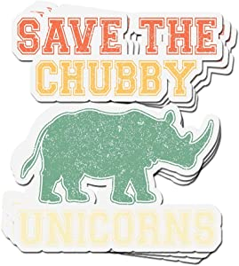 3 PCs Stickers Save The Chubby Unicorns Vintage Retro 4 × 3 Inch Vinyl Die-Cut Decals for Laptop Window