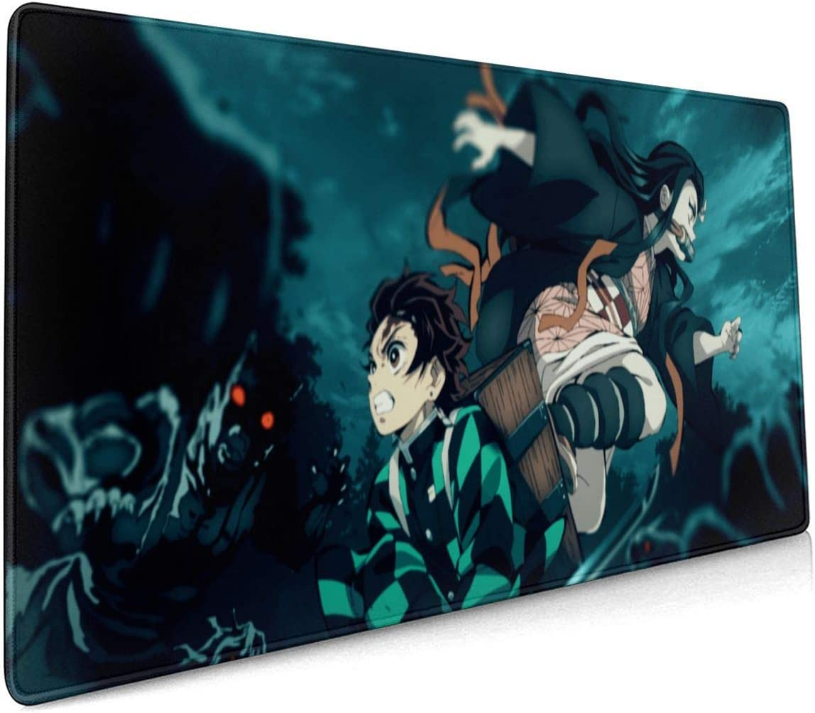 Demon Slayer Gaming Mouse Pad Large XXL Improved Precision and Speed Designed for Gamer Office Thick Extended Mousepad Desk Mat with Smooth Cloth Surface 900x400x3mm