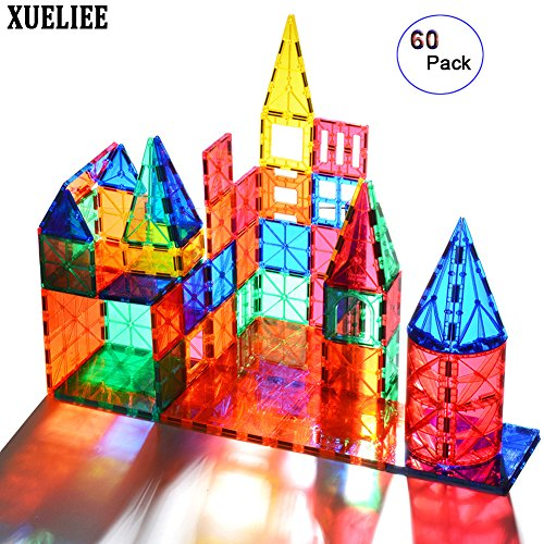 tic Building Blocks, Magnetic 3D Building Set Building Toys Set, Educational Construction Magnetic for Kids, Varied Shapes in Rainbow Colors ()