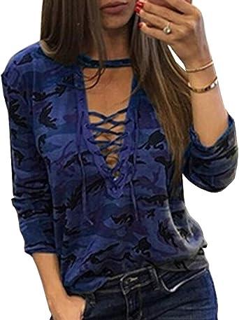 Tops De Mujer Camisas De Camuflaje De Moda Básica De Camiseta Blusa Casuales Mujeres Cuello En V Atractivo Tops De Manga Larga: Amazon.es: Ropa y accesorios