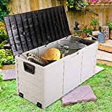 LAZYMOON Outdoor Patio Deck Box Garage Storage Backyard Tool Shed Container, Gray and Black