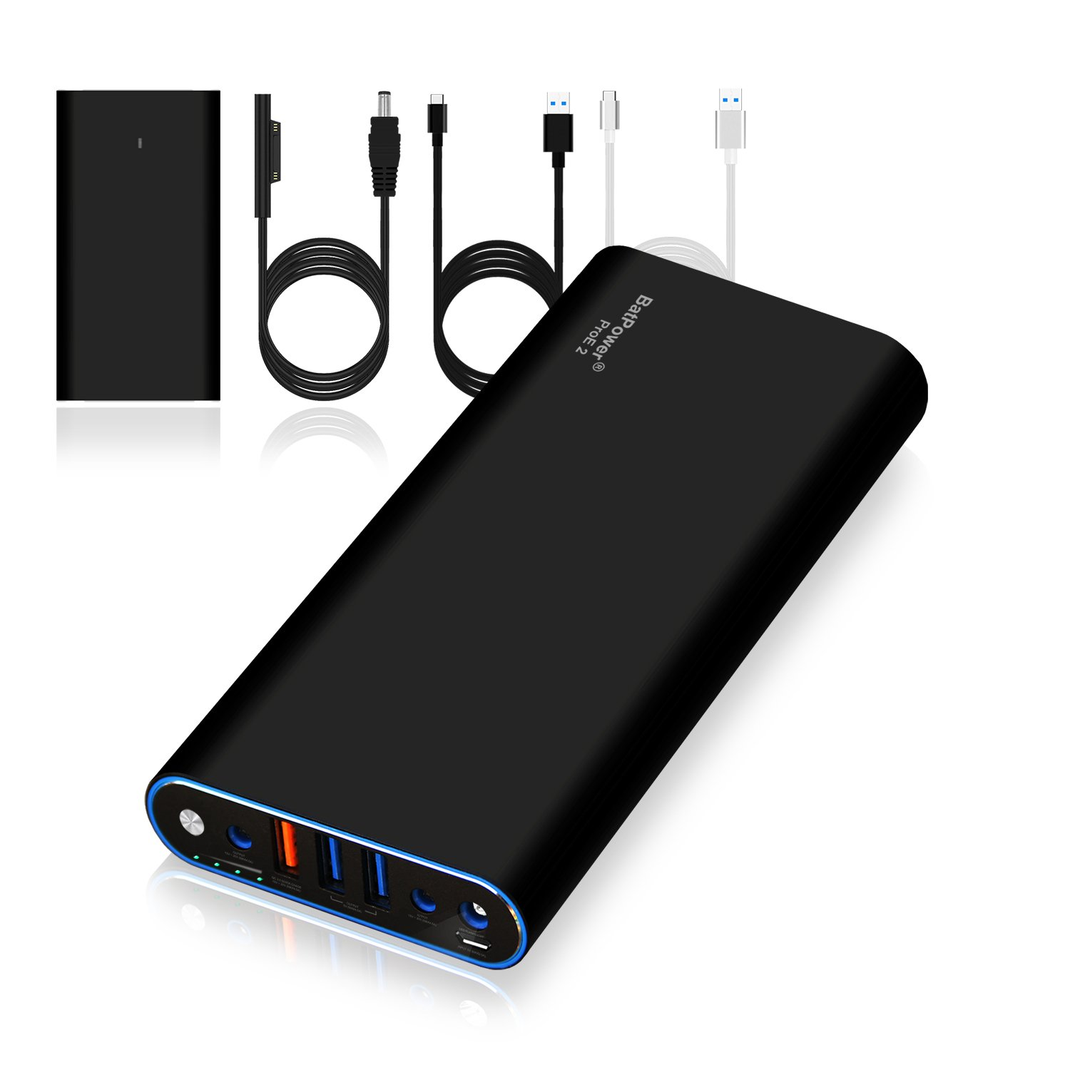 BatPower ProE 2 ES10B Portable Charger External Battery Power Bank for  Surface Laptop, Surface Book, Book 2, Surface Pro 4/3 / 2 and RT, USB QC  3 0