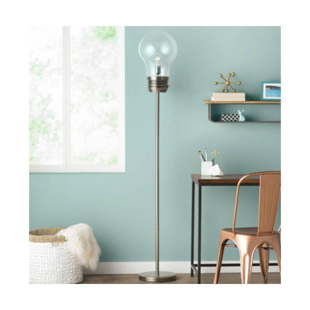 72 Inch Unique & Stylish Edison Bulb Shape Floor Lamp For Reading Corner, Antique Brass Base Finish