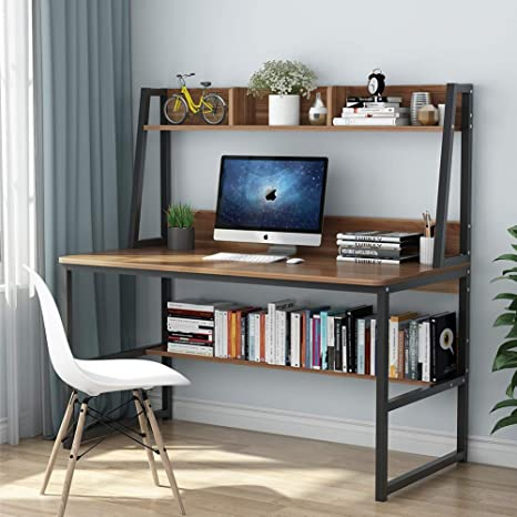 Tribesigns Computer Desk with Hutch and Bookshelf, 47 Inches Home Office  Desk with Space Saving Design for Small Spaces, Retro Brown