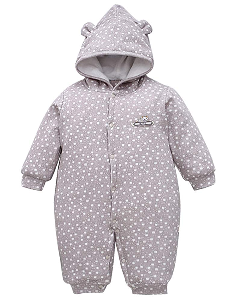 ARAUS Toddler Infant Girls Boys Winter Thicken Romper Hooded Jumpsuit Coat Outfit