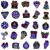 Neon and Colorful Christmas Stickers for Wall Laptop Water Bottles Car Bumper Guitar Luggage Waterproof Vinyl Decals Cool Graffiti Stickers Pack (25pcs Neon and 25pcs Colorful Christmas Stickers)