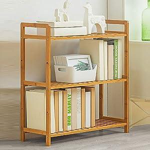 ZHUAN Bookshelf,Simple Standing Bookcase Storage Shelves Bamboo Book Rack Display Shelf for Bedroom Office Living Room Study