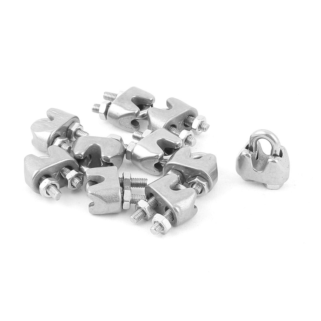Cable Clamps 3mm or 1//8 inch Stainless Steel package of 8