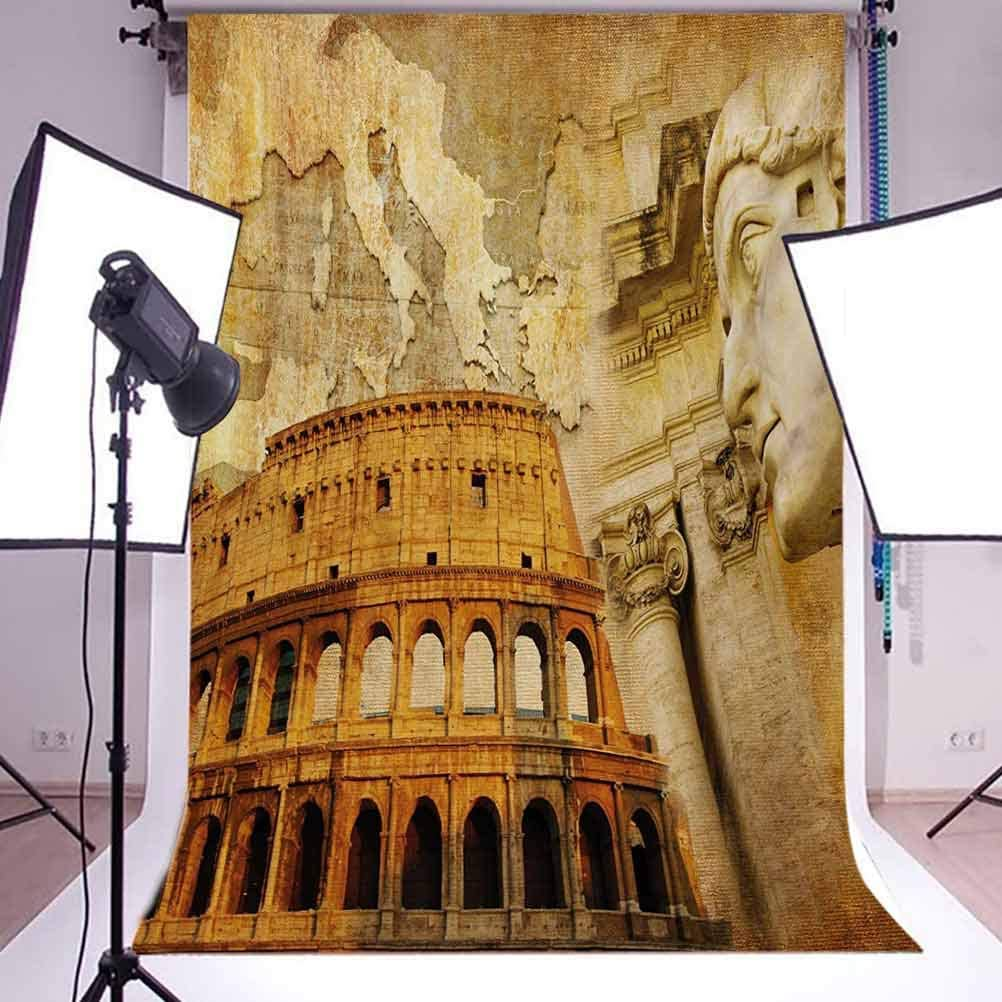 Roman Empire Concept Famous Columns Sculptress Colosseum Map of The Nation Print Background for Photography Kids Adult Photo Booth Video Shoot Vinyl Studio Props Retro 6.5x10 FT Photography Backdrop