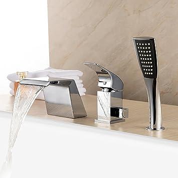 Libina 3 Einheiten Wannenrandarmatur Badewanne Wasserhahn Wasserfall ...