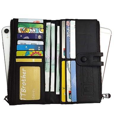 89742911164f Tippnox Womens Genuine Leather Wallet RFID Blocking Credit Card Holder  Organizer Clutch Long Purse with Zipper Pocket