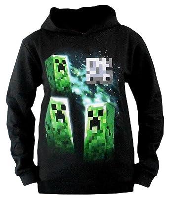 Minecraft 3 Creeper Sudadera con capucha Negro negro: Amazon.es: Ropa y accesorios