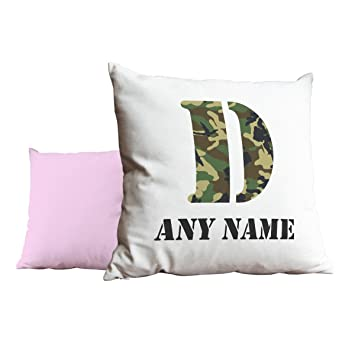 Personalizado ejército camuflaje letra D rosa cojín 1096 ...