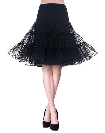 72a0ac0550ab2c KUONUO Jupon années 50 Vintage en Tulle Rockabilly Petticoat Jupe en Tulle  Taille Haute Longueur 66cm, 4 Tailles à Choisir