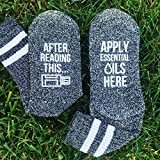 AFTER READING THIS APPLY ESSENTIAL OILS HERE Aromatherapy Socks Women's Size 5-9 Charcoal Polyester/Cotton/Spandex