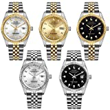 BUREI Mens Dress Automatic Watches Sapphire Lens with Stainless Steel Bracelet