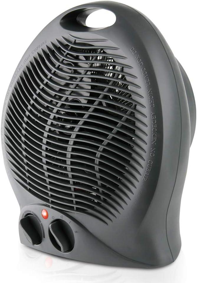 Taurus Gobi-Calefactor, termoventilador, silencioso, 2000 W, termostato Ajustable, función ventilación, 2 Posiciones de Calor, asa de Transporte, Negro