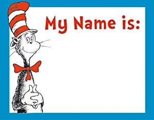 Eureka Dr. Seuss Cat In The Hat Classroom Name Tags for Students, 40pc