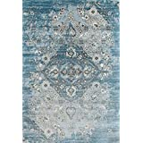 distressed blue area rug carpet large new