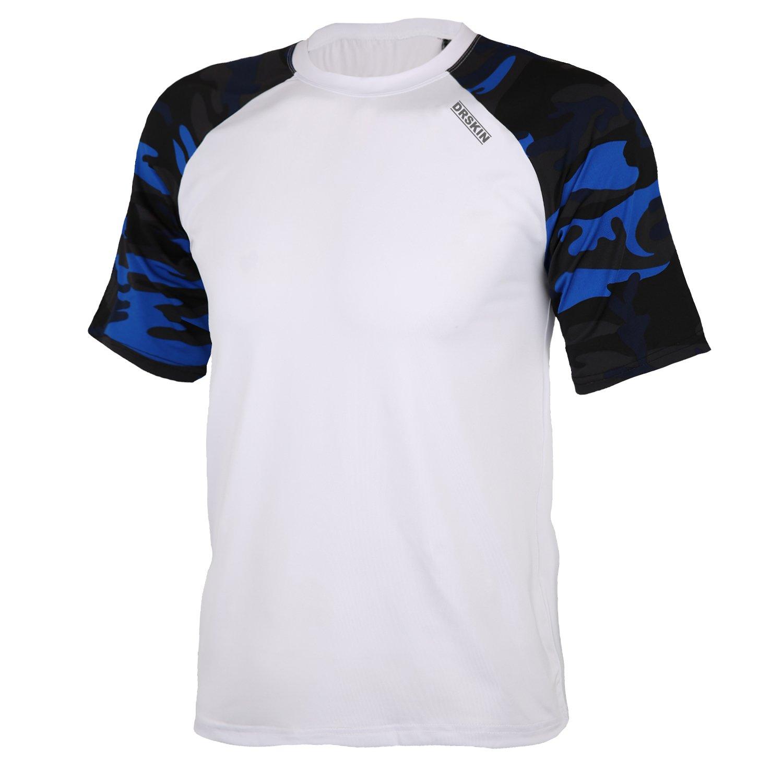 DRSKIN Cool Dry Short Sleeve Men Rash Guards UPF 50+ (BSSW-MBU16, M)