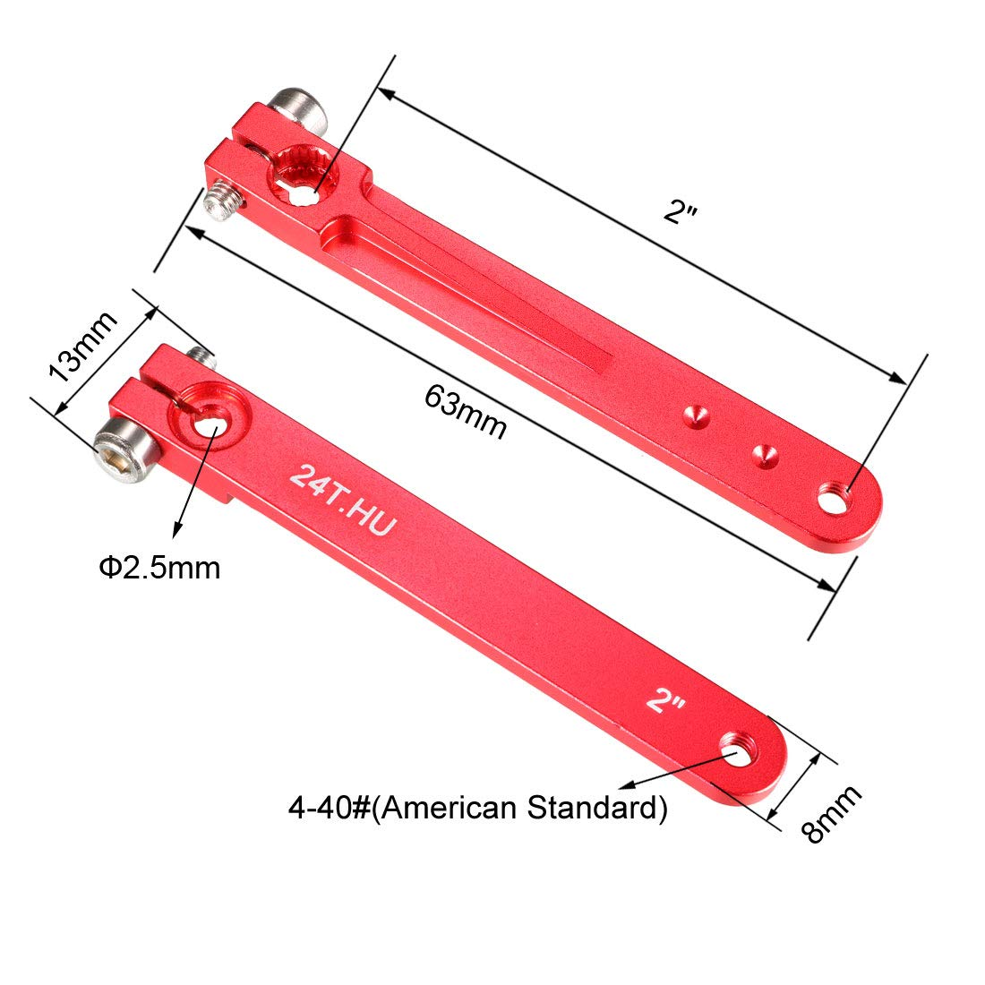uxcell Aluminum Servo Arms Single Arm 25T 4-40# Thread Red for 2 Inch Futaba