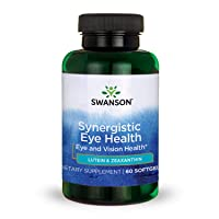 Swanson Lutein & Zeaxanthin Synergistic Eye Health Vision Retina Macula Supplement (Lutein 20 mg & OmniXan Zeaxanthin 2 mg) 60 Softgels Sgels