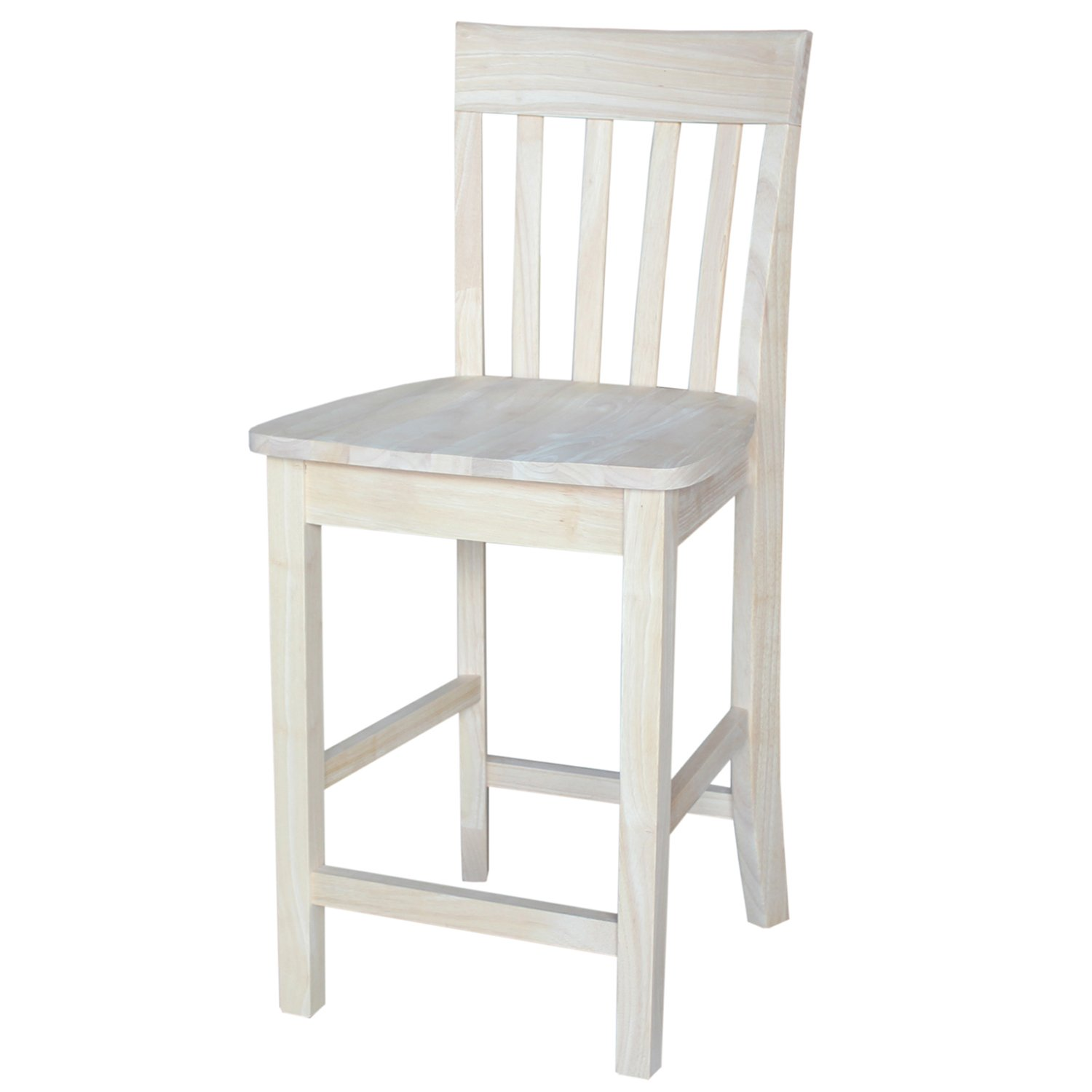 International Concepts S-3012 Slat Back Stool, 24-Inch SH, Unfinished