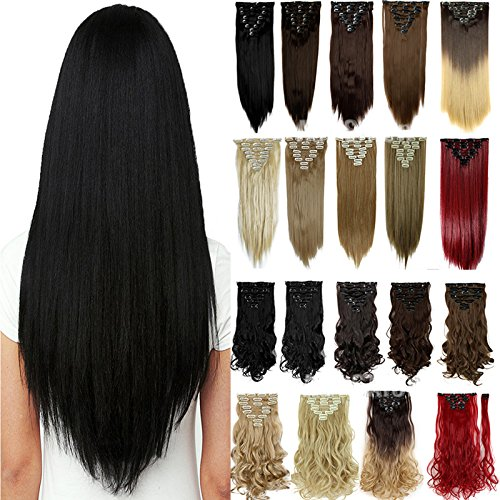 S-noilite 8PCS/SET Full Head Clip in Hair Extensions 140Grams Thick Real Natural Synthetic Hairpiece (26inches-straight, Jet Black)