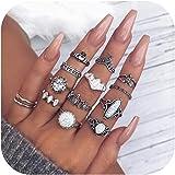 Gudukt Bohemian Knuckle Ring Set Vintage Silver Crystal Joint Knuckle Ring Set for Women