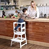 SDADI Kids Kitchen Step Stool with Safety Rail CPSC Certified- for toddlers 18 months and older, White