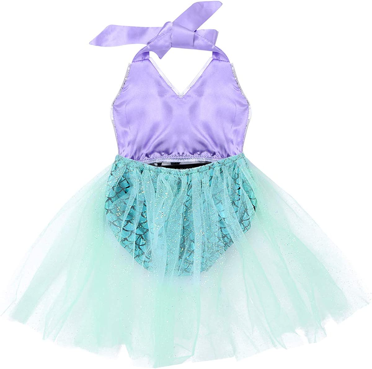 Alvivi Infant Baby Girls Shiny Sequins Mermaid Romper Dress Bodysuit Swimwear Cosplay Clothes