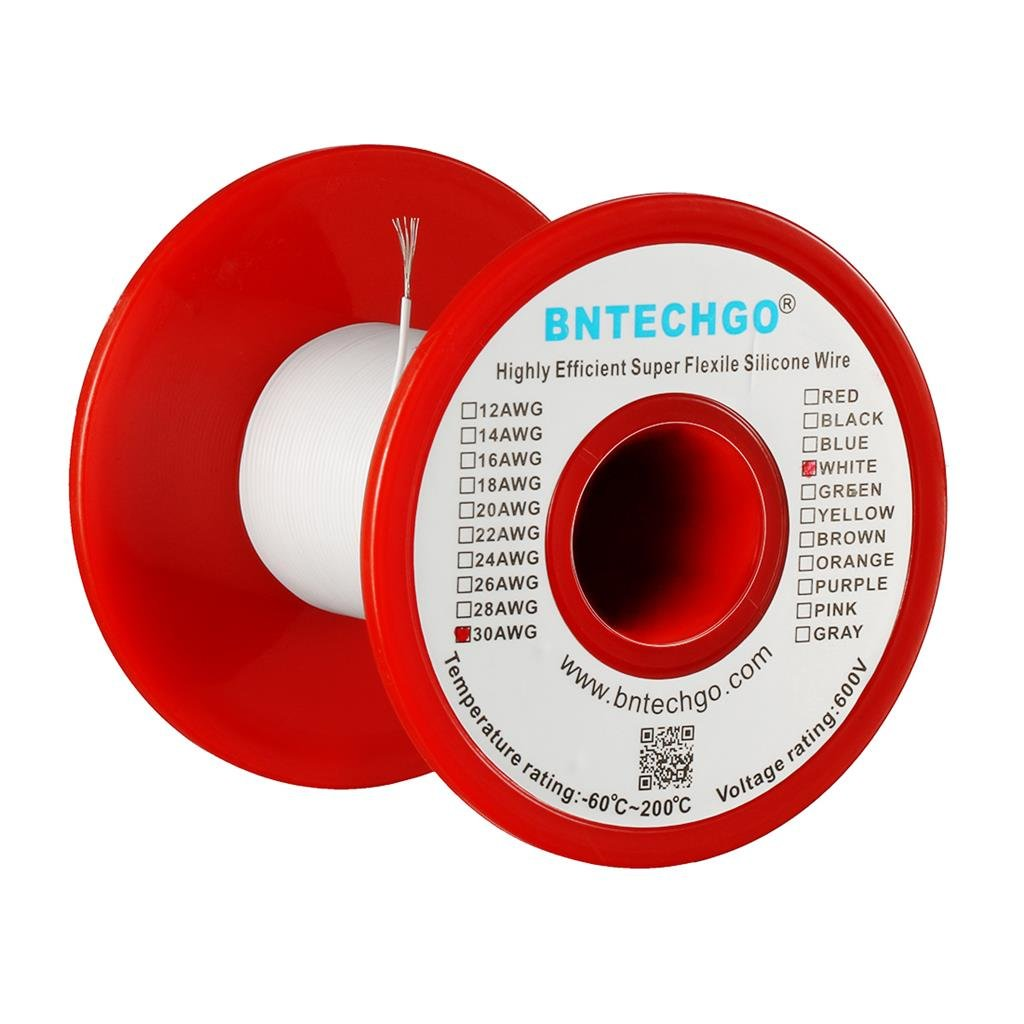 BNTECHGO 30 Gauge Silicone wire spool 100 ft White Flexible 30 AWG Stranded Tinned Copper Wire