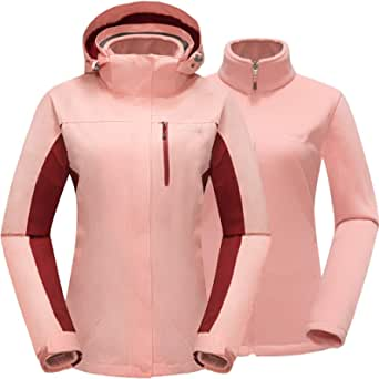 Cleesmil Women's 3 in 1 Waterproof Ski Jacket Windproof Hooded Winter Coat with Fleece Liner