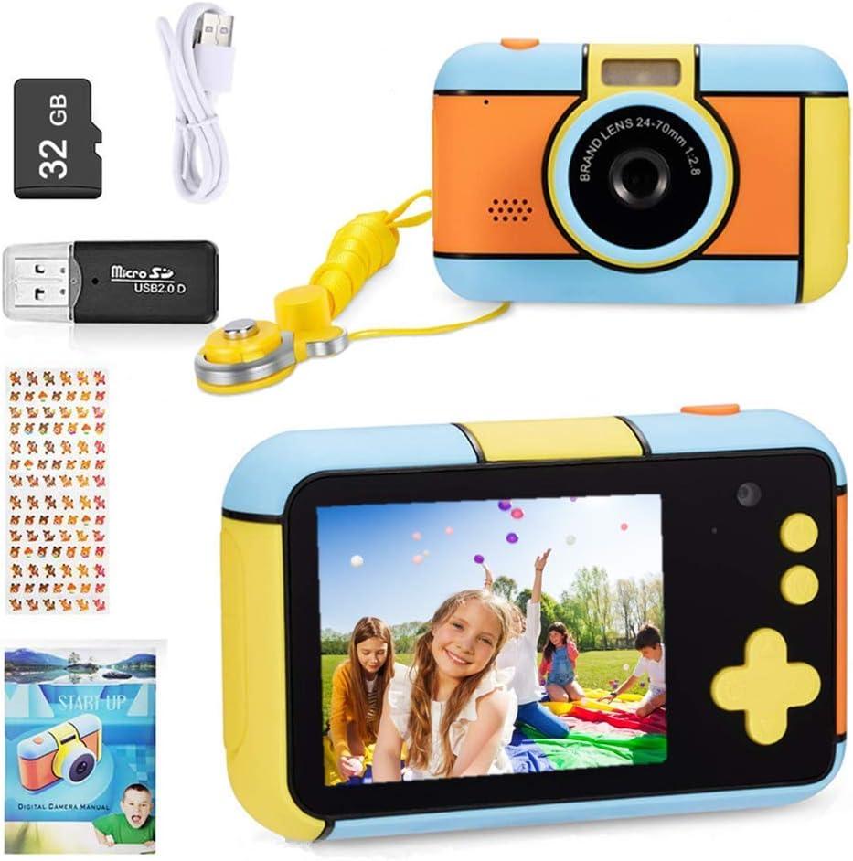 ToyZoom - Cámara de Fotos para niños, 24 MP, cámara Digital 1080P HD, Lente Doble Selfie, cámara con 32 GB, Tarjeta SD, 2,4 Pulgadas, Regalo de cumpleaños
