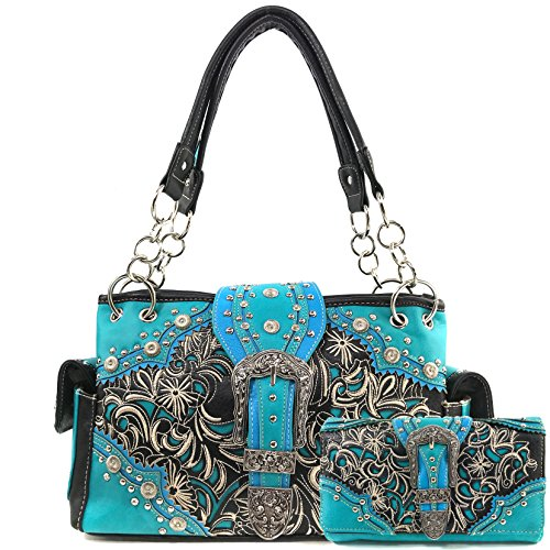 Shoulder Turquoise Cross Handbag Floral Trifold West Justin with Strap Messenger Western Purse Body Cross Wallet Stone Handbag Rhinestone Wallet Long Set Bag and Embroidery Turquoise wURdZqd1Y8