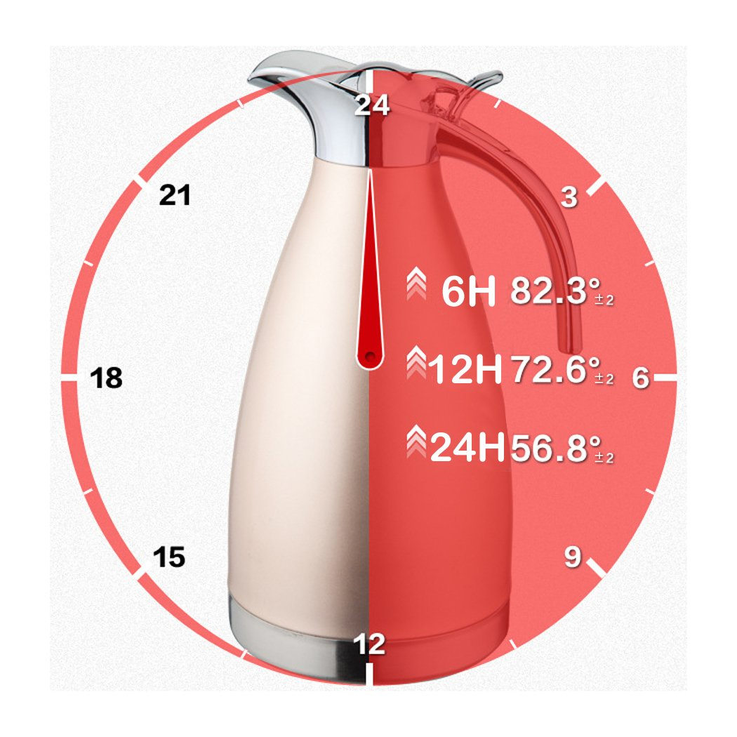 FUNRUI Vacuum Insulated Jug Thermal Carafe Stainless Steel Double Wall Insulation Pot for Coffee Juice Milk Tea Beverages HomeRex 1L Silver