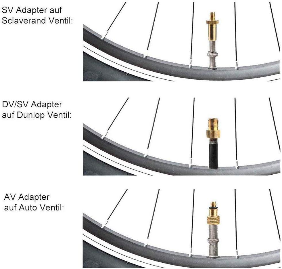 circulor 16 pcs Adaptateurs pour Valves Lot de Adaptateurs pour Pompe /À V/élo en Cuivre pour Valve Capuchons De Valve Adaptateur De Valve De V/élo V/élo