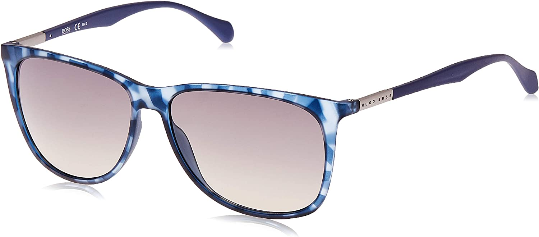 BOSS Hugo 0823/S DX YX2 Gafas de sol, Azul (Bluette Havana/Dk Grey Sf), 58 Unisex-Adulto