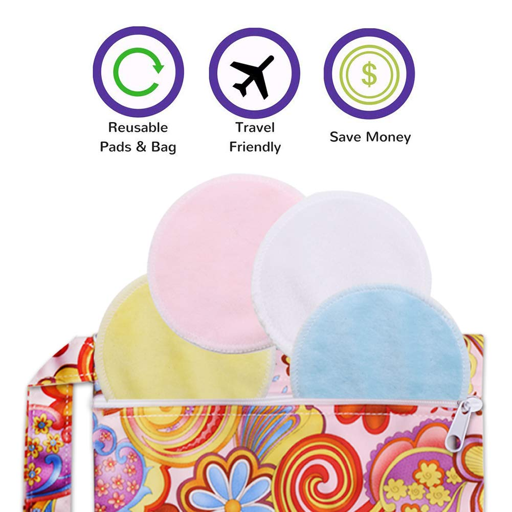 Makeup Remover Pads, 14 Pack Reusable Bamboo Soft Face Clean Pads Facial Skin Care Wash Cleansing Pads with Laundry Bag and Cosmetic Bag, Assorted Colors