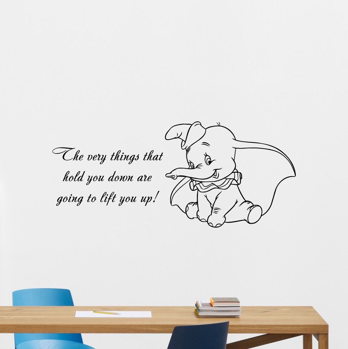 Dumbo quote vinyl wall decal the very things that hold you elephant walt disney lettering cartoons quotes vinyl sticker baby girl boy custom kids room art
