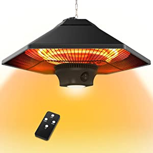 FLAMEMORE Electric Hanging Heater Outdoor - Ceiling Mount Patio Heater 1500W Infrared Heater with Remote Control Led Light Overhead Protection for Garage Balcony Porch Gazebo, Black