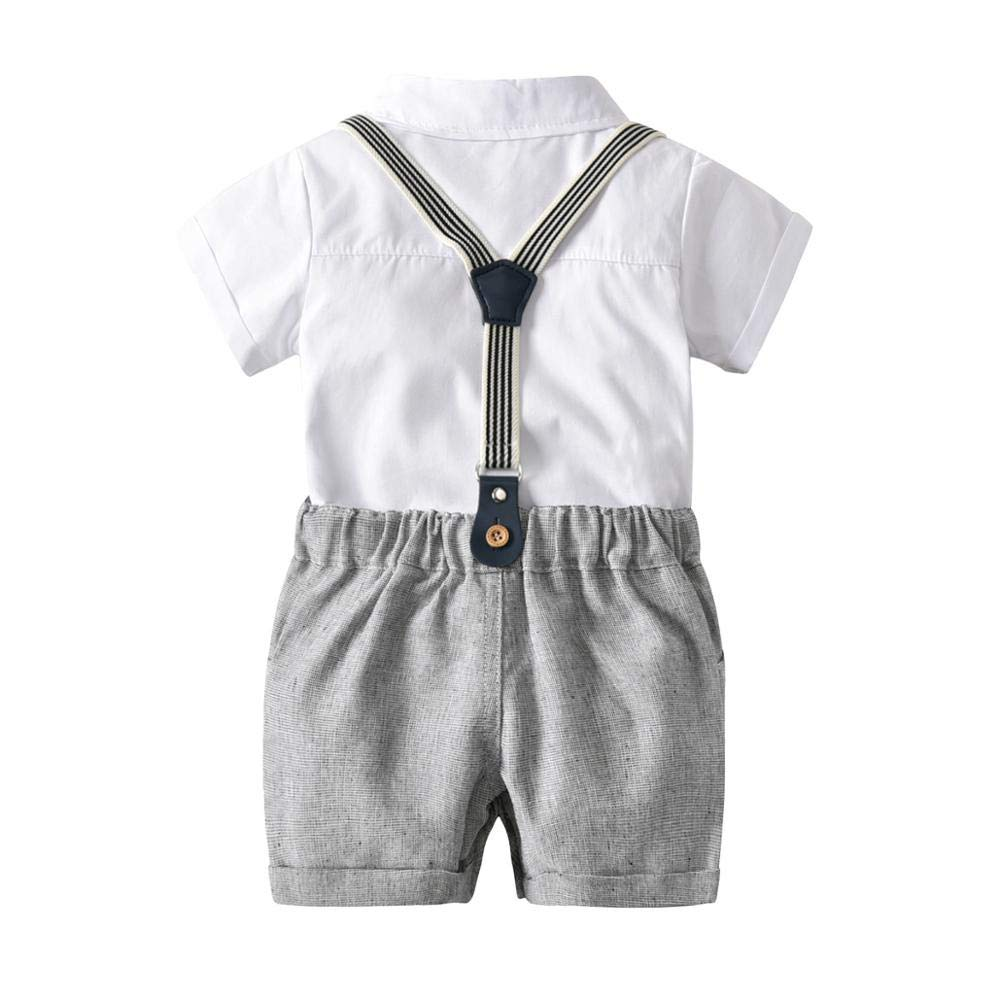 SEADOSHOPPING Romper European and American Boys White Robe Collar Bow tie Bow tie Gentleman Three-Piece