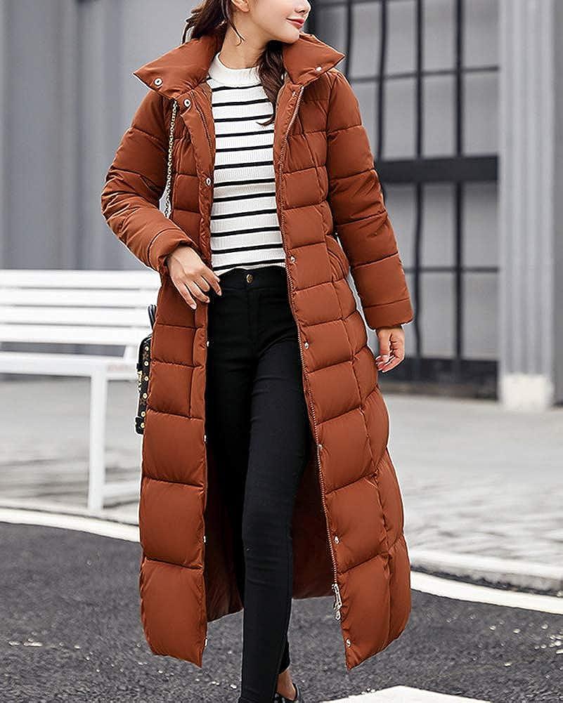 87562bf70ba Guiran Women Warm Coat Padded Parka Casual Thicker Winter Hooded Down  Jacket Long Overcoat Outerwear