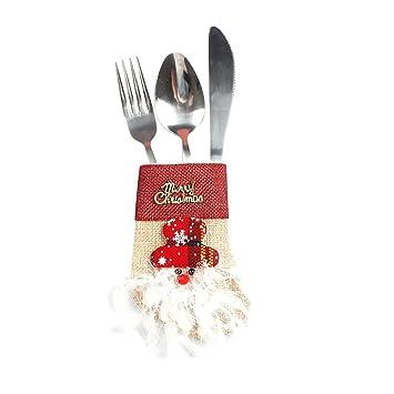 Decoracion Navidad Bolsas de Dulces Adornos Navideños, Cubiertos Tenedores Bolsa decoración de Mesa,Navidad Bolsillos para Cubiertos (A) (C, ...