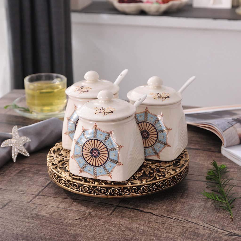 FEFEFEF Ceramic Seasoning jar Stereo Rotating Seasoning Bottle Seasoning jar Kitchen Seasoning Box Set