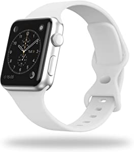 STG Smart Watch Band Compatible with Apple Watch Band 38mm 40mm 42mm 44mm, Soft Silicone Replacement Sport Strap Compatible for iWatch SE Series 6/5/4/3/2/1 (38/40mm, White)
