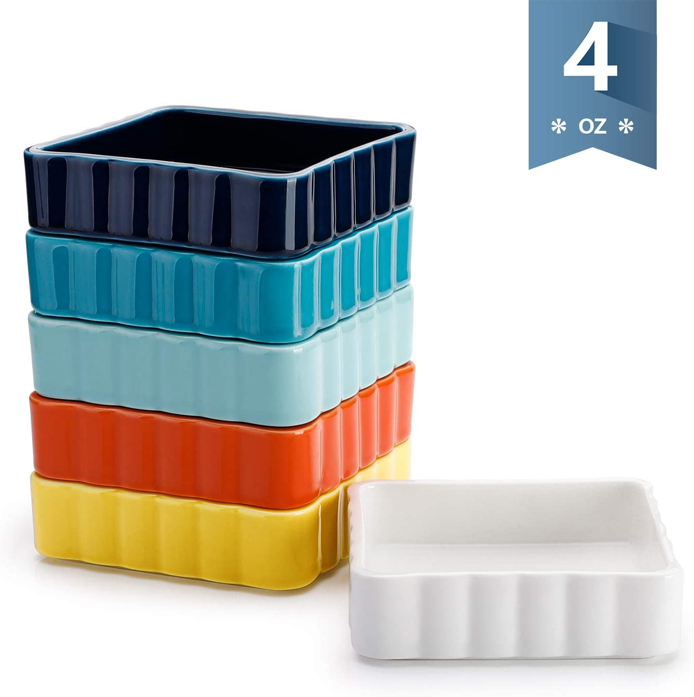 Sweese 508.002 Porcelain Ramekins 4 Ounce Creme Brulee Dish, Square, Set of 6, Hot Assorted Color