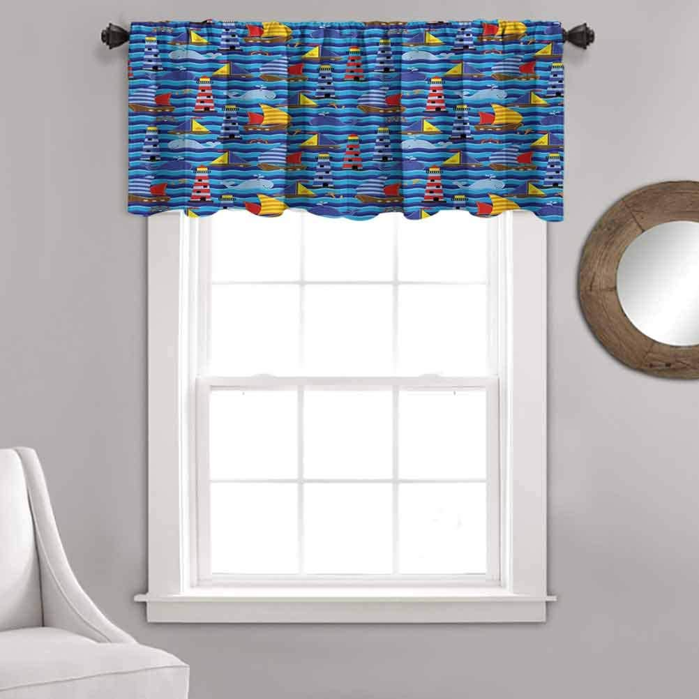 Nautical Kitchen Curtain Valance,Nautical Themed Wavy Ocean Boating Yacht Dolphin Compass Lighthouse Fish Curtain Valance for Kitchen Bedroom Decor with Rod Pocket,52