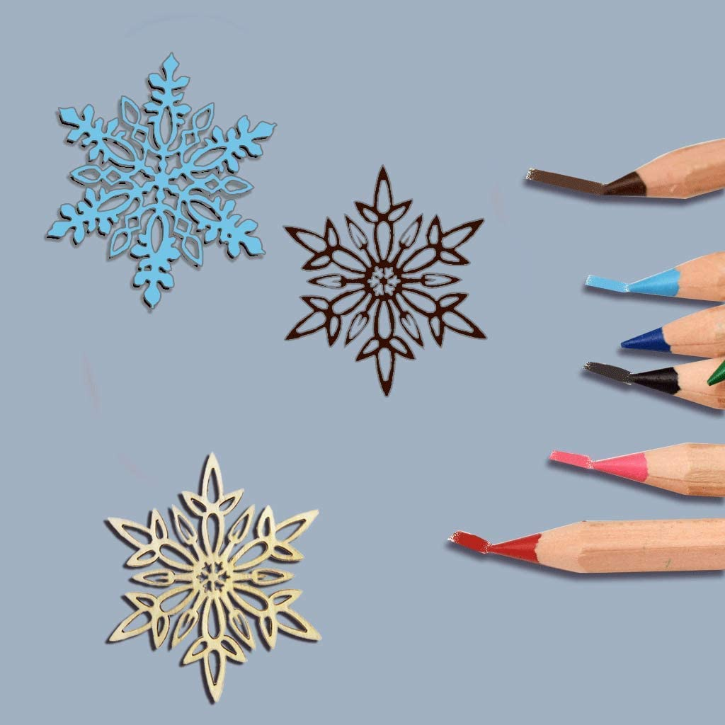 YuQi Set of 20 Hanging Wood Snowflakes Ornaments,5 inch Wooden Snowflake Hanging,Unfinished Wooden Snowflakes Large for Crafts Winter Wedding Decor Xmas Ornament